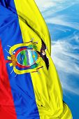 pic of guayaquil  - Ecuadorian waving flag on a beautiful background - JPG