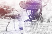 stock photo of bronco  - Bearded Cowboy Farmer wearing Straw Hat on Western American Horse Ranch Double Exposure Image - JPG