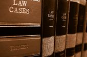 picture of book-shelf  - Law cases and law books on a shelf - JPG