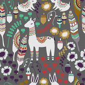 stock photo of bohemian  - A fun woodland pattern with deer - JPG