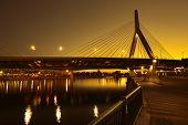 picture of bridges  - Boston Zakim bridge sunset in Bunker Hill Massachusetts USA - JPG