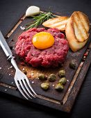 foto of tartar  - fresh beef tartar with egg - JPG