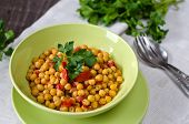 stock photo of chickpea  - Chickpea stew with vegetables - JPG