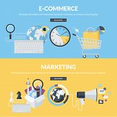 Постер, плакат: Set of flat design style concepts for e commerce and marketing
