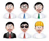 foto of avatar  - Set of 3D Dimension Young Different Professional and Business Man Characters and Avatars in Long sleeve and Necktie Isolated in WHite Background - JPG
