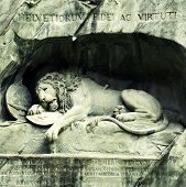 stock photo of rock carving  - Lion Monument  - JPG