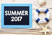 picture of starfish  - Summer 2017 Text written on blackboard with starfish - JPG
