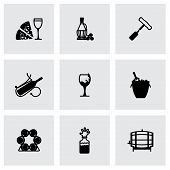 picture of wine-press  - Vector Wine icon set on grey background - JPG