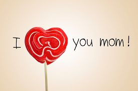 foto of i love you mom  - the sentence I love you mom with a red heart - JPG