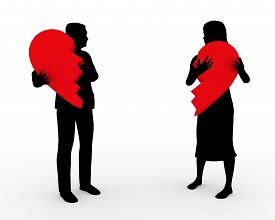 stock photo of heartbreaking  - Illustration of a couple holding two parts of the same heart - JPG
