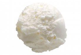 stock photo of ijs  - Scoop of lemon ice cream on white background - JPG