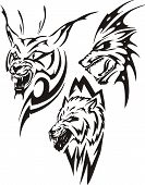 Lynx with sharp canines and two wolves.