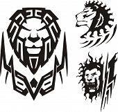 Three drawings of a lion.