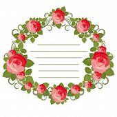 cartão vintage - quadro feito de rosas vermelhas.