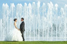 stock photo of fountain grass  - The bride and groom holding hands and looking at each other while standing on the grass in front of a water spray fountain in Zagreb Croatia - JPG