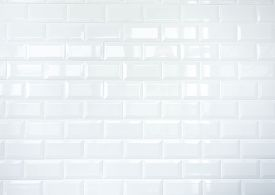 stock photo of ceramic tile  - Glossy white ceramic tiles wall texture background - JPG