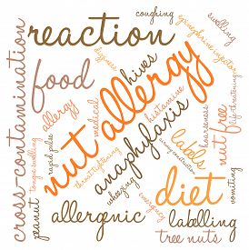 stock photo of anaphylaxis  - Nut allergy word cloud on a white background - JPG