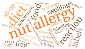 image of anaphylaxis  - Nut allergy word cloud on a white background - JPG