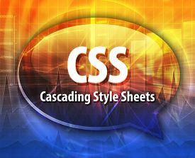 picture of bubble sheet  - Speech bubble illustration of information technology acronym abbreviation term definition CSS Cascading Style Sheets - JPG