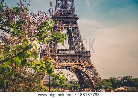 poster of The Eiffel Tower in Paris, France. Eiffel Tower, symbol of Paris. Eiffel Tower in spring time. Photo stock.