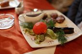 stock photo of grils  - Tomato and aubergine gril at the restaurant - JPG