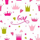 Vector Pattern Of Hand Drawn Crowns And Hearts For Young Princess. poster