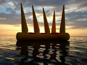 Greater Bright Inflatable Toy On Water On A Sunset 2 poster