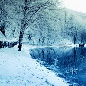 stock photo of covered bridge  - Winter scene of a lake and forest - JPG