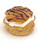 stock photo of cream puff  - close up of chocolate iced cream puff - JPG