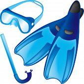 Blue rubber scuba tools
