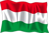 Waving flag of Hungary isolated on white