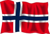 Flagge Norwegens, isolated on White winken