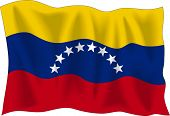Waving Flag von Venezuela, isolated on white