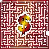 Find the way to dollar through this 3D maze