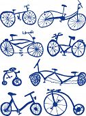 Eight Hand drawn bicycle Doodles