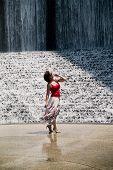 Awestruck At The Waterfall