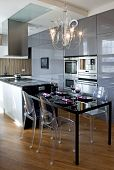 kitchen with dining room in modern apartment