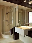 stock photo of washtub  - big bathroom with glass wall - JPG