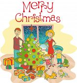 vector happy family mother, father, boy, girl, baby boy and dog dressing up the christmas tree