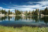 picture of stratus  - Summer Stratus Clouds over Chewing Gum Lake Emigrant Wilderness Sierra Nevada Range - JPG