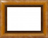 Antique light wooden photo frame with pattern isolated border
