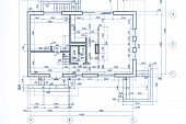 House Plan Blueprint. Part Of Architectural Project. Technical Drawing. poster