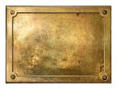 foto of oxidation  - Brass yellow metal plate framed background texture - JPG
