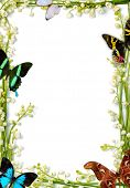 Lilies of the valley frames with colorful butterflies on white background