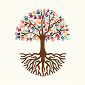 Tree Hand Illustration For Diverse People Team Help poster