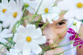 image of flower girl  - Flowers and the girl - JPG