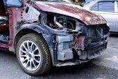 Accident crash damaged car or wreck broken vehicle