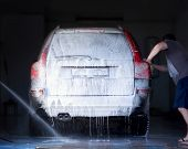 pic of car wash  - The man washes the car - JPG