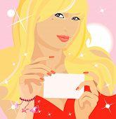 Vector de la imagen de una mujer rubia con tarjeta negra