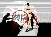 vector image of fashion model on podium